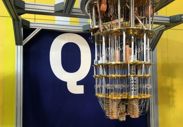Components for IBM's quantum computer are on display at a science conference in Lausanne, Switzerland. (GeekWire Photo / Alan Boyle)