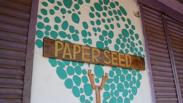 PHOTO: Paper Seed Co., an eco-friendly NGO in southern India, says they created a single-use face mask that, when disposed of into the soil, blooms into plants. (Courtesy Paper Seed)