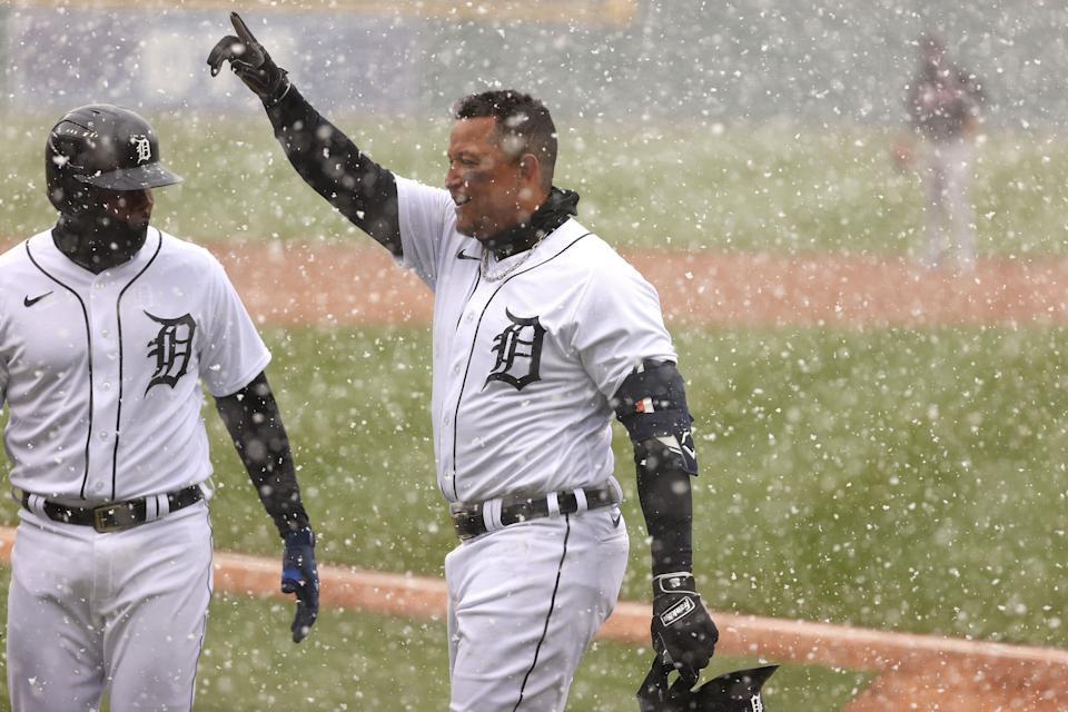 Miguel Cabrera (right) of the Detroit Tigers celebrates his first inning two run home run with Jeimer Candelario.