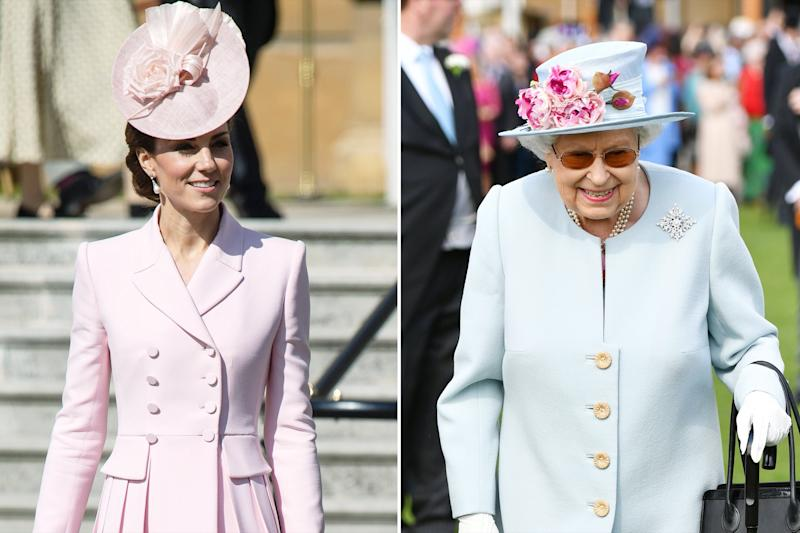 Kate Middleton Steps Out with the Queen (Again!) at Garden Party — in Coordinating Pastel Outfits