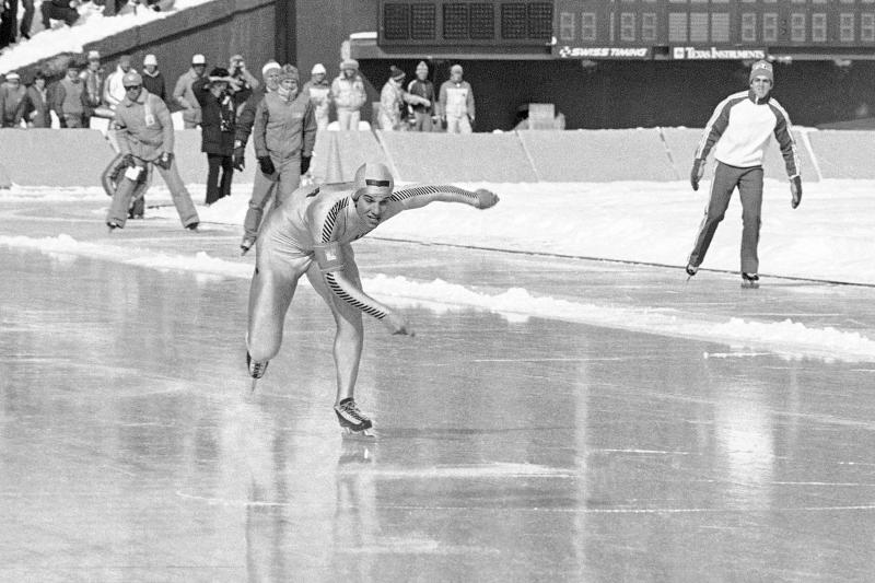 FILE - In this Feb. 15, 1980, file photo, Eric Heiden, of Madison, Wisc. competes during the 500m Olympic speed skating event of the 1980 Winter Olympics in Lake Placid, N.Y. Heiden won five speedskating gold medals, all in record time. Lake Placid is celebrating the 40th anniversary of the Winter Olympics that were held in the Adirondack Mountain village. (AP Photo)