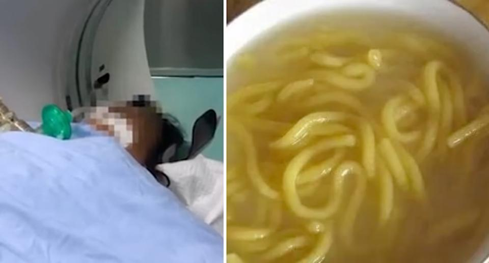 Ms Li in hospital before her death (left) and an image of suantangzi soup. Source: HongXing Video/ The Paper