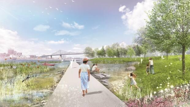 A look at the riverside promenade included in the plans for Parc Jean-Drapeau.