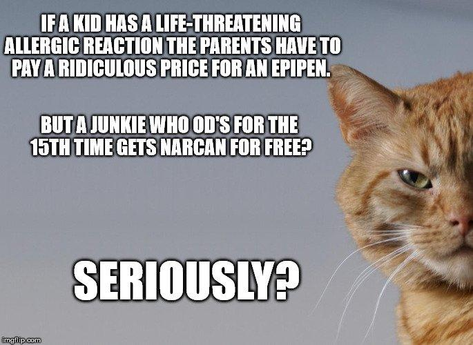 if a kid has a life-threatening allergic reaction the parents have to pay ridiculous price for an epipen. But a junkie who od's for the 15th time gets Narcan for free? Seriously?
