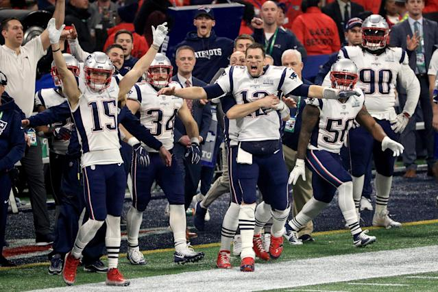 <p>The New England Patriots celebrate after winning the Super Bowl LIII at against the Los Angeles Rams Mercedes-Benz Stadium on February 3, 2019 in Atlanta, Georgia. The New England Patriots defeat the Los Angeles Rams 13-3. (Photo by Mike Ehrmann/Getty Images) </p>