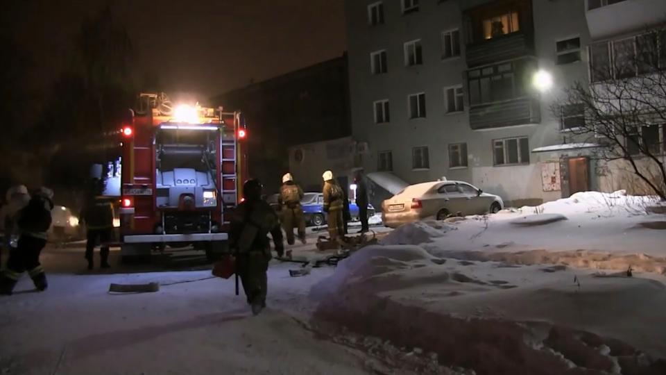 Pictured are emergency services at the scene of a fire in the Russian city of Yekaterinburg.