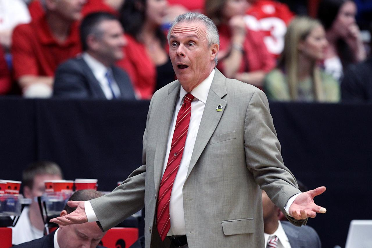 Head coach Bo Ryan of the Wisconsin Badgers coaches against the Belmont Bruins during the second round of the 2011 NCAA men's basketball tournament at McKale Center on March 17, 2011 in Tucson, Arizona. The Badgers defeated the Bruins 72 to 58.  (Photo by Christian Petersen/Getty Images)