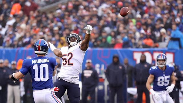 The Bears' Khalil Mack (52) tips a pass against the Giants. (Getty Images)