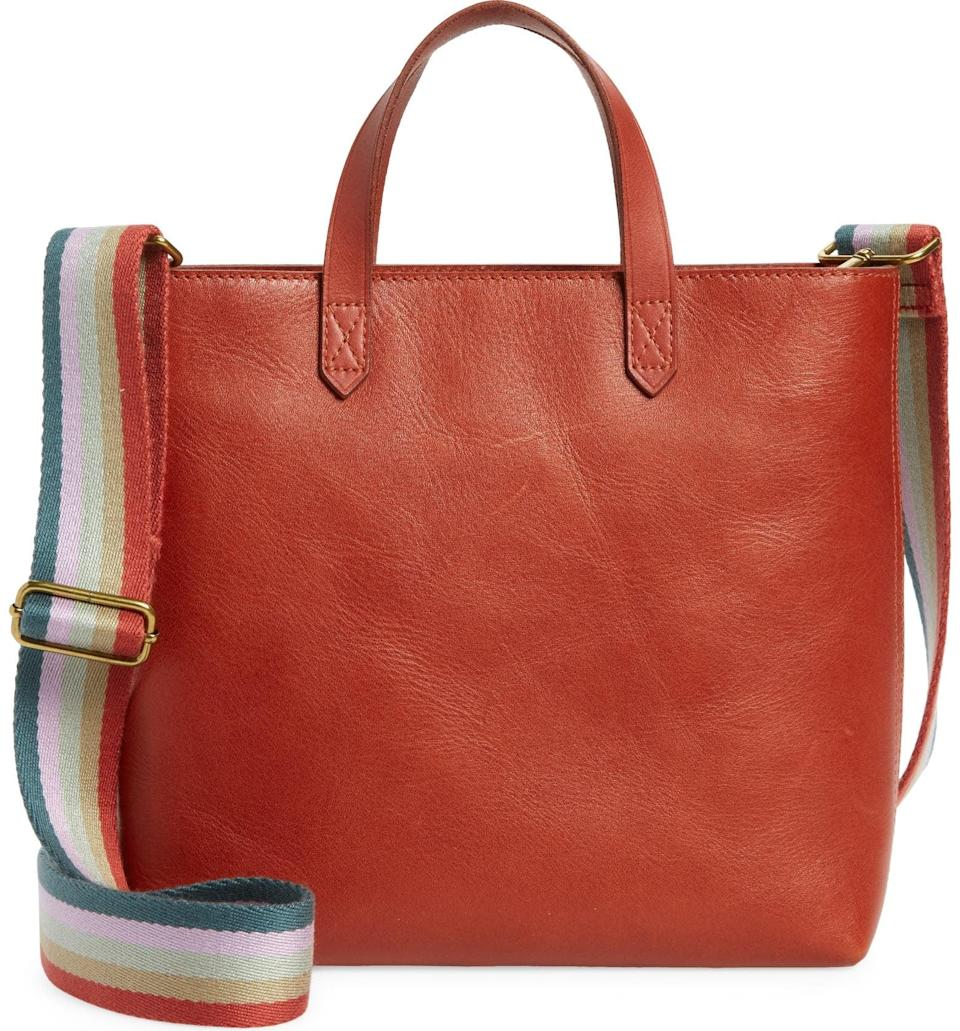 <p>How fun is this <span>Madewell Small Transport Leather Crossbody Tote</span> ($89, originally $148)? The rainbow strap adds a unique twist that we're so into.</p>