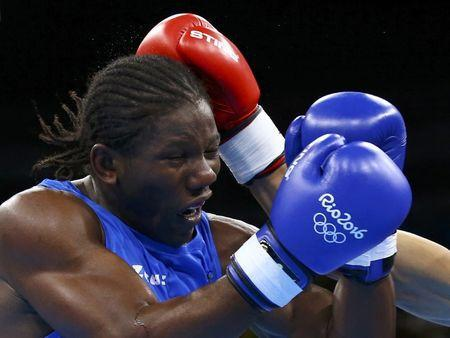 2016 Rio Olympics - Boxing - Preliminary - Men's Light Heavy (81kg) Round of 32 Bout 16 - Riocentro - Pavilion 6 - Rio de Janeiro, Brazil - 06/08/2016. Hassan N'Dam N'Jikam (CMR) of Cameroon competes. REUTERS/Peter Cziborra