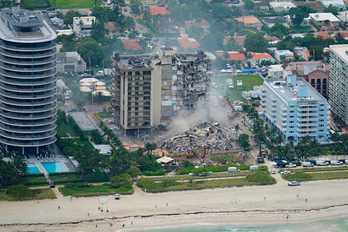 New first-responder video shows the devastation of the Champlain Tower South collapse in Florida from a never-before-seen vantage.  (Copyright 2021 The Associated Press. All rights reserved.)