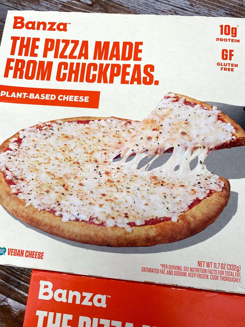 <p>Here's what the box of Banza Plant-Based Cheese frozen pizza looks like. It's made with vegan cheese and is a fairly small pizza, about nine inches in diameter.</p>
