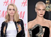 <p><strong>When:</strong> May 1<br>Cara chopped her hair, went platinum blonde, then shaved it all off to play a cancer patient in an upcoming film.<br><i>[Photo: Getty]</i> </p>