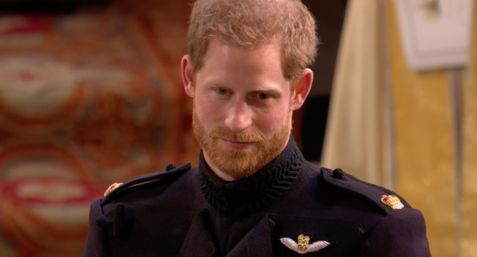 Prince Harry waits for the bride (Picture: BBC)
