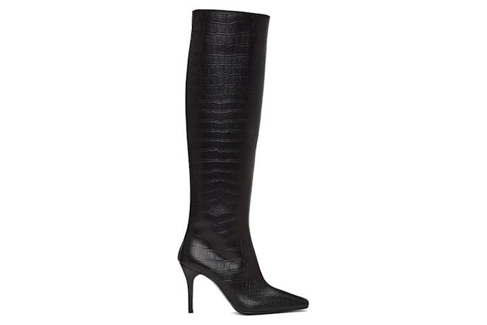 black boots, embossed, croc, system