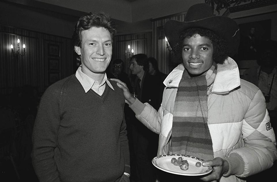 <p>Michael Jackson with Steve Winwood at a party thrown by CBS Records to present The Jacksons with their Gold Discs in 1978.</p>
