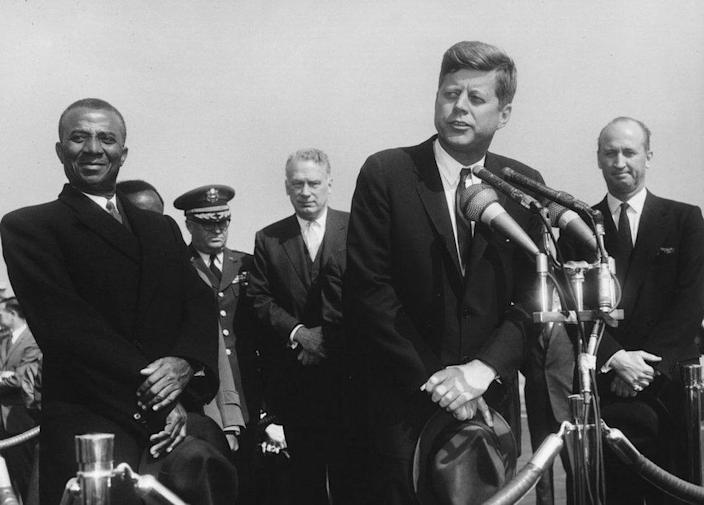 President John F. Kennedy speaks at arrival ceremonies for President of Togo, Sylvanus Olympio