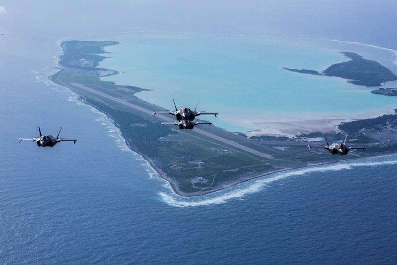 F-35B Lightning IIs with Marine Fighter Attack Squadron 211, the Wake Island Avengers, 13th Marine Expeditionary Unit (MEU), fly over Wake Island in August, 2018