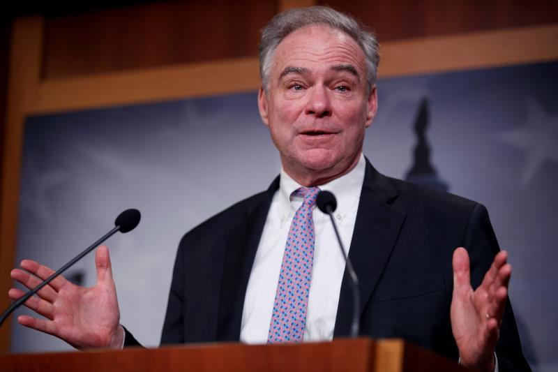 Democratic Senator from Virginia Tim Kaine delivers remarks on the War Powers Resolution during a press conference in the US Capitol in Washington, DC, USA, 13 February 2020. EFE/EPA/SHAWN THEW