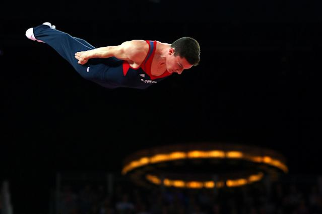 LONDON, ENGLAND - AUGUST 03: Steven Gluckstein of the United States competes on the Men's Trampoline during Day 7 of the London 2012 Olympic Games at North Greenwich Arena on August 3, 2012 in London, England. (Photo by Cameron Spencer/Getty Images)