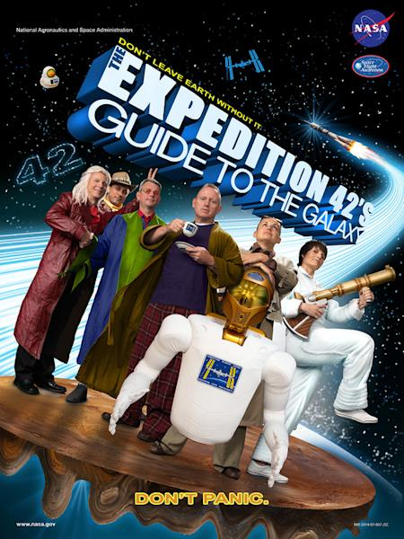 """The official crew poster for the International Space Station's 42nd expedition parodies """"The Hitchhiker's Guide to the Galaxy."""""""