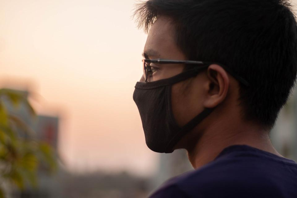 Man wearing a face mask outside during the coronavirus pandemic