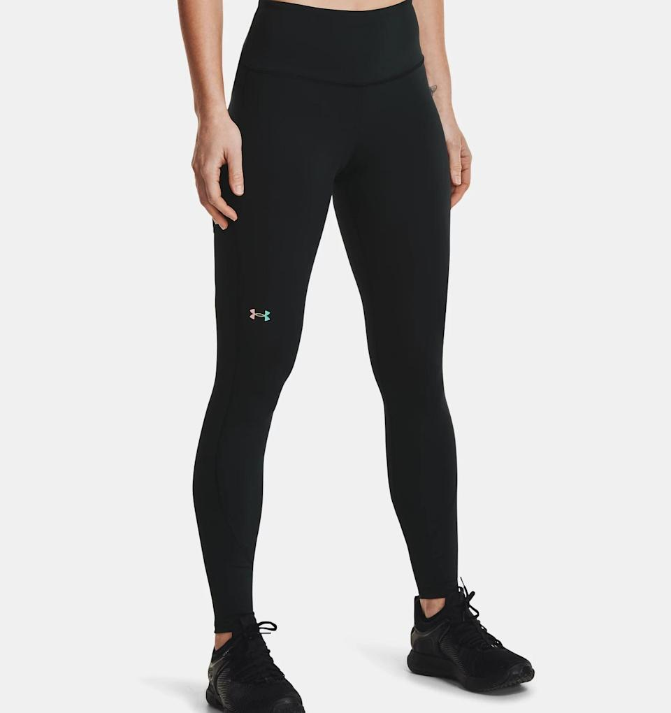 <p>These <span>Under Armour Women's UA RUSH No-Slip Waistband Full-Length Leggings</span> ($70) are the true definition of performance leggings. Like the name says, they do stay up on my waist, no matter how many jump squats, burpees, or plank jacks I do. They're made with UA RUSH infrared technology that is designed to reflect your body's energy to keep me warm, and the material wicks and dries sweat quickly. Perhaps the best part? There's a pocket on the side so I can easily stash my phone (if you don't 'gram your workout, did it really happen?)</p>