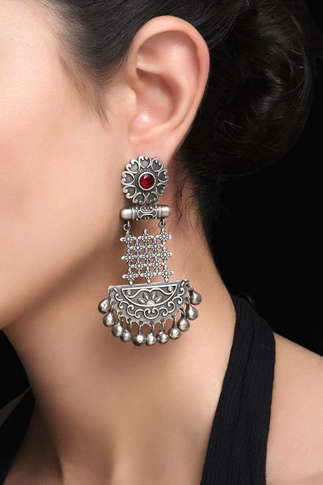 "Ethnic silver earrings from Biba, for Rs. 899 <a href=""https://fave.co/2m2oWMB"">BUY HERE</a>"