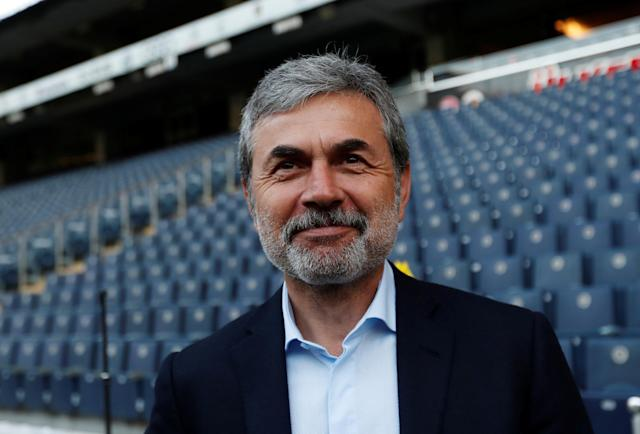 Soccer Football - Turkish Cup Semi Final Second Leg - Fenerbahce v Besiktas - Sukru Saracoglu Stadium, Istanbul, Turkey - May 3, 2018 Fenerbahce coach Aykut Kocaman before the scheduled kick off REUTERS/Murad Sezer