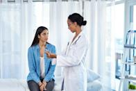 """<span>While nipple discharge from breast milk is totally normal, if you're noticing discharge that's clear or bloody, that's something you should get checked out since it could be a sign of breast cancer, says the </span><a href=""""https://www.nationalbreastcancer.org/breast-cancer-symptoms-and-signs"""" rel=""""nofollow noopener"""" target=""""_blank"""" data-ylk=""""slk:National Breast Cancer Foundation"""" class=""""link rapid-noclick-resp""""><span>National Breast Cancer Foundation</span></a><span>. If you have discharge that's milky, it could be something else, like </span><a href=""""https://www.mayoclinic.org/symptoms/nipple-discharge/basics/causes/sym-20050946"""" rel=""""nofollow noopener"""" target=""""_blank"""" data-ylk=""""slk:hormonal changes"""" class=""""link rapid-noclick-resp""""><span>hormonal changes</span></a><span> or certain medication use.</span>"""