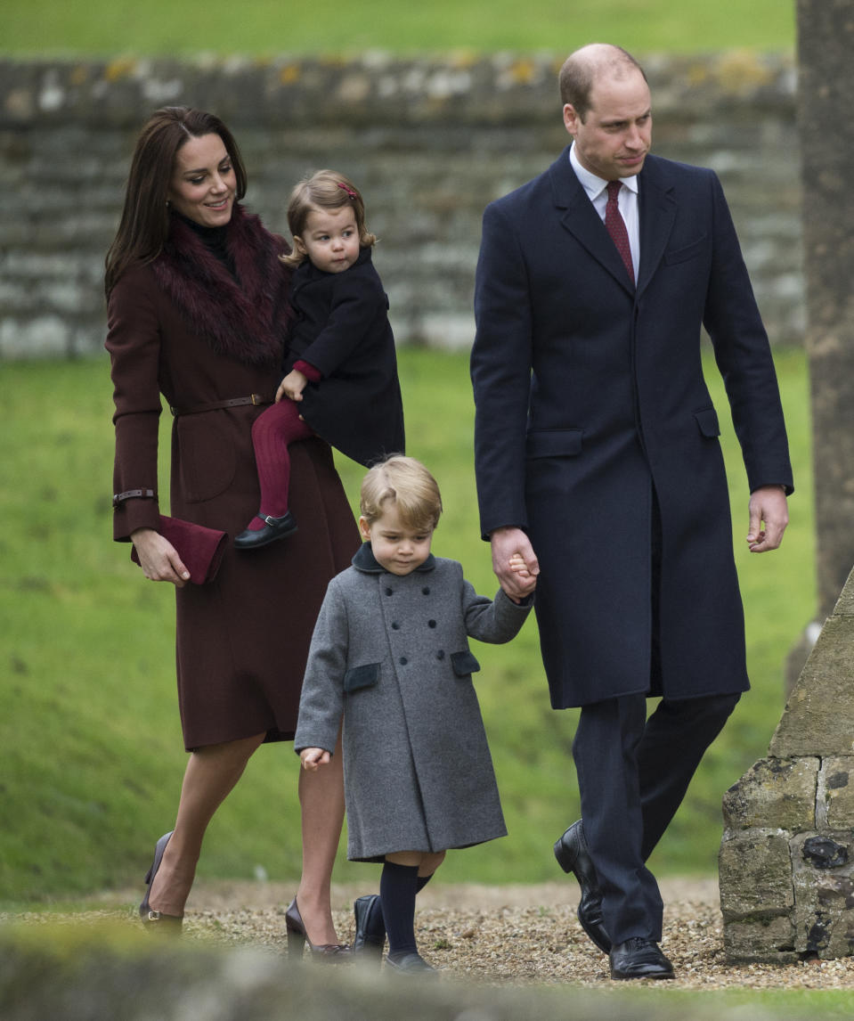 Prince William, Duke of Cambridge, Catherine, Duchess of Cambridge, Prince George of Cambridge and Princess Charlotte of Cambridge attend church on Christmas Day on December 25, 2016. [Photo: Getty]
