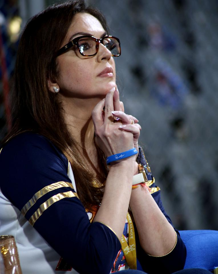 Neeta Ambani owner of Mumbai indians during match 10 of the Pepsi Indian Premier League ( IPL) 2013  between The Mumbai Indians and the Delhi Daredevils held at the Wankhede Stadium in Mumbai on the 9th April 2013 ..Photo by Sandeep Shetty-IPL-SPORTZPICS ..Use of this image is subject to the terms and conditions as outlined by the BCCI. These terms can be found by following this link:..https://ec.yimg.com/ec?url=http%3a%2f%2fwww.sportzpics.co.za%2fimage%2fI0000SoRagM2cIEc&t=1506437857&sig=wfpvYYnqIB2j2s4M0cHOWw--~D