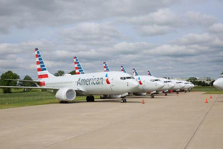 Handout photo of American Airlines Boeing 737 MAX jets sit parked at a facility in Tulsa, Oklahoma