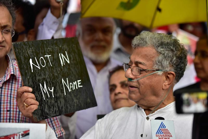 BENGALURU, INDIA - JUNE 28: Ailing theatre personality Girish Karnad joins people to support a campaign 'Not in My Name' in protest against the lynching of Muslim boy, at Town Hall on June 28, 2017 in Bengaluru, India. (Photo by Arijit Sen/Hindustan Times via Getty Images)