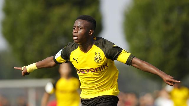 The 14-year-old continued his blistering form in the U19 Bundesliga with three quick-fire goals on Sunday