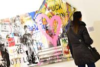 Banksy's works on exhibition at the Palazzo delle Arti in Napoli, an exhibition dedicated to the underground art movement of street art which will be held until February 16, 2020. (Photo by Paola Visone/Pacific Press/Sipa USA)