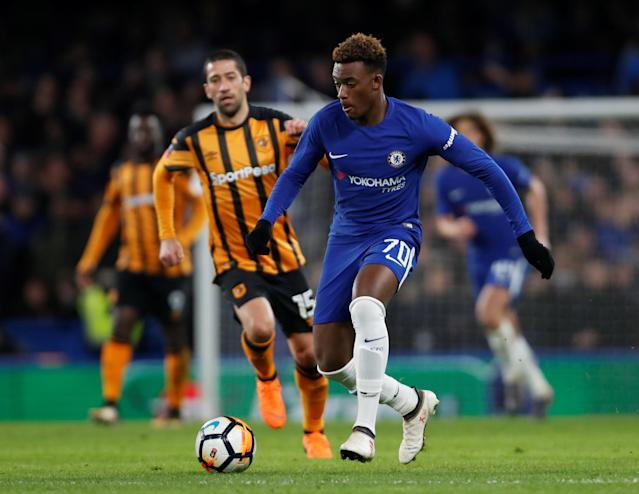 Soccer Football - FA Cup Fifth Round - Chelsea vs Hull City - Stamford Bridge, London, Britain - February 16, 2018 Chelsea's Callum Hudson-Odoi in action Action Images via Reuters/Paul Childs