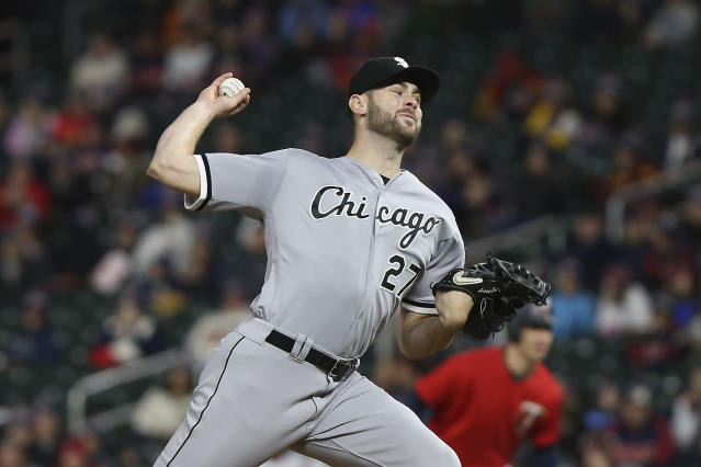 Chicago White Sox pitcher Lucas Giolito throws against the Minnesota Twins in the second game of a baseball doubleheader Friday, Sept. 28, 2018, in Minneapolis. (AP Photo/Stacy Bengs)