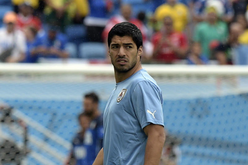 Uruguay's forward Luis Suarez during the World Cup Group D football match between Italy and Uruguay at the Dunas Arena in Natal on June 24, 2014
