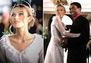 <p>While most of us remember Keira Knightley's role in <em>Love Actually</em> as standing at her front door while her husband's BFF professes his love to her, the wedding scene is seriously underrated, IMO. The feather detailing on her character's wedding dress was also just *chef's kiss*.</p>