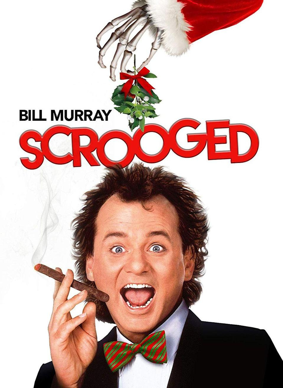 """<p>This modernized version of <em>A Christmas Carol</em> stars Bill Murray as a curmudgeonly TV executive who learns the true meaning of Christmas.</p><p><a class=""""link rapid-noclick-resp"""" href=""""https://www.amazon.com/Scrooged-Bill-Murray/dp/B0032GWF2A/?tag=syn-yahoo-20&ascsubtag=%5Bartid%7C10055.g.1315%5Bsrc%7Cyahoo-us"""" rel=""""nofollow noopener"""" target=""""_blank"""" data-ylk=""""slk:WATCH NOW"""">WATCH NOW</a></p>"""