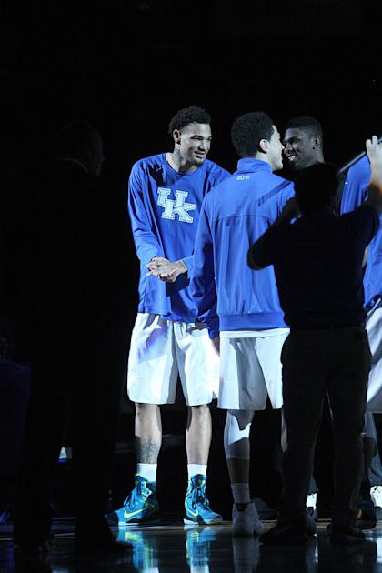 Mar 7, 2015; Lexington, KY, USA; Kentucky Wildcats forward Willie Cauley-Stein (15) applauds during the introductions before the game against the Florida Gators at Rupp Arena. Kentucky Wildcats defeated the Florida Gators 67-50. (Mark Zerof-USA TODAY Sports)