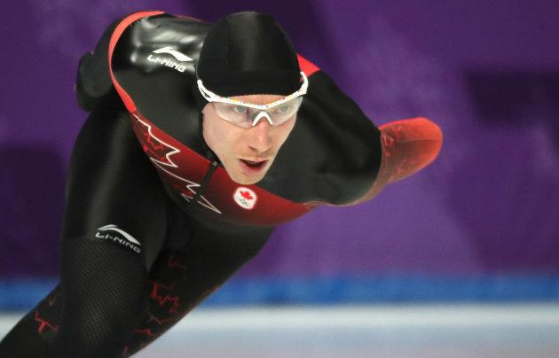 Ted-Jan Bloemen of Canada wins the gold medal in the men's 10,000-metre speedskating event at the PyeongChang Winter Olympics in Gangneung, South Korea, on February 15, 2018.