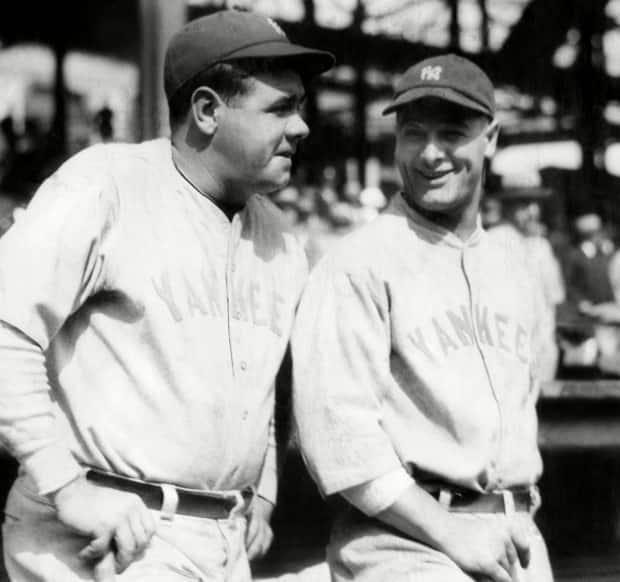 New York Yankees outfielder Babe Ruth, left, and first baseman Lou Gehrig, right, circa 1927.  (Everett/Shutterstock - image credit)
