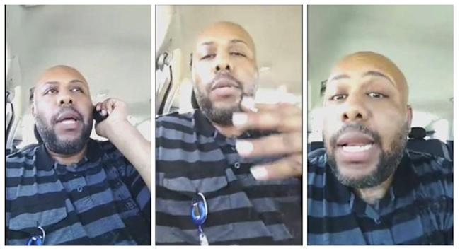 A man who identified himself as Stevie Steve is seen in a combination of stills from a video he broadcast of himself on Facebook in Cleveland, Ohio, U.S. April 16, 2017. Stevie Steve/Social Media/ Handout via REUTERS