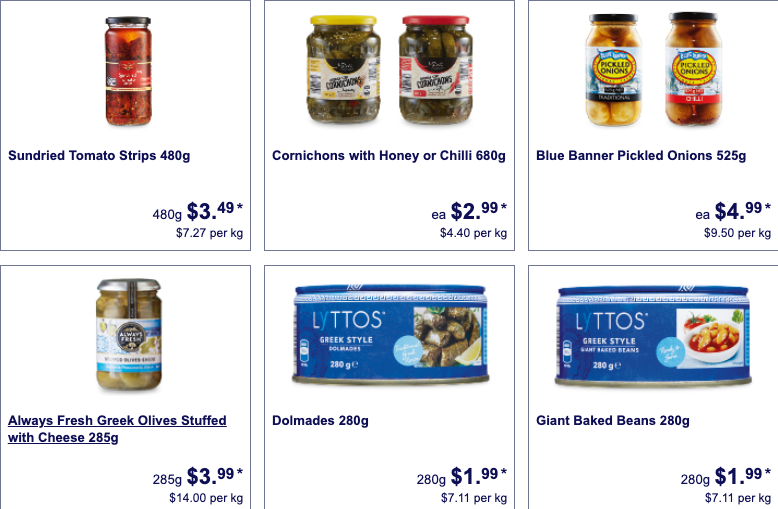 Antipasto foods selling as Special Buys at Aldi.
