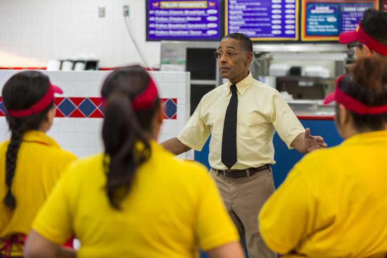 "Giancarlo Esposito as Gustavo ""Gus"" Fring; group†- Better Call Saul _ Season 3, Episode 4 - Photo Credit: Michele K. Short/AMC/Sony Pictures Television"