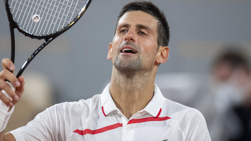 Novak Djokovic, pictured here celebrating his victory over Mikael Ymer at the French Open.