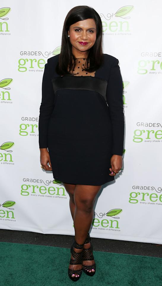 PACIFIC PALISADES, CA - APRIL 11:  Actress Mindy Kaling attends the Verte Grades of Green's Annual Fundraising Event at the Bel-Air Bay Club on April 11, 2013 in Pacific Palisades, California.  (Photo by Frederick M. Brown/Getty Images)
