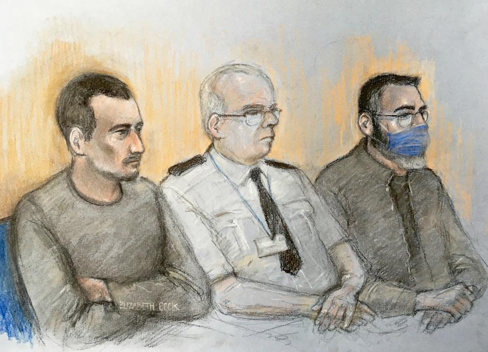 Court artist sketch by Elizabeth Cook of Christopher Kennedy (left) and Valentin Calota (right) two of four men to face trial, at the Old Bailey in London, for being part of an alleged people-smuggling ring linked to the death of 39 migrants in a lorry in Essex.